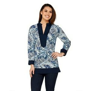 C. Wonder Midnight Blue Paisley Floral Print Long